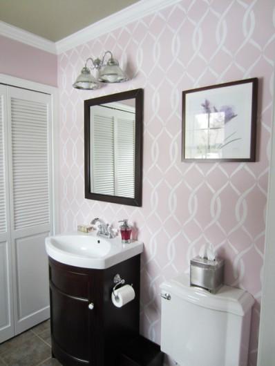 A DIY stenciled pink bathroom using the Entwined Allover Stencil from Cutting Edge Stencils. http://www.cuttingedgestencils.com/stencil-pattern-2.html