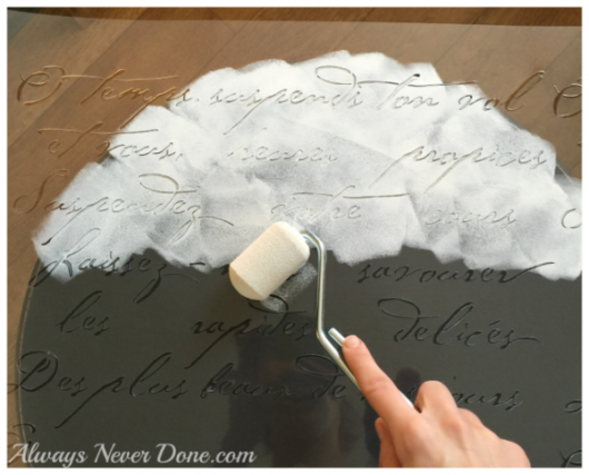Stenciling a DIY wooden table using the French Poem Craft Stencil from Cutting Edge Stencils. French Poem Craft Stencil from Cutting Edge Stencils. http://www.cuttingedgestencils.com/french-poem-diy-craft-stencil-design.html