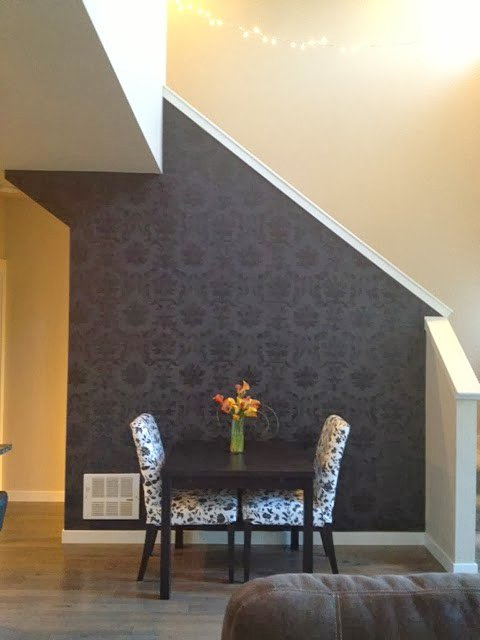 A DIY stenciled accent wall using the Gabrielle Damask Stencil from Cutting Edge Stencils. http://www.cuttingedgestencils.com/damask-stencil-3.html