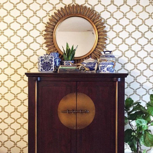 A DIY stenciled accent wall using the Heritage Grill Stencil from Cutting Edge Stencils. http://www.cuttingedgestencils.com/heritage-grill-allover-stencil.html