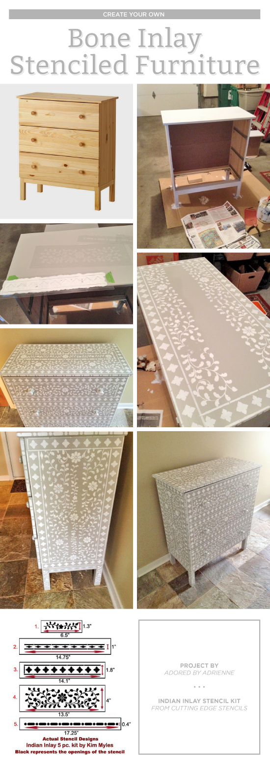 Cutting Edge Stencils Shares Diy Stenciled Dresser Makeover Using The Indian Inlay Stencil Kit For A