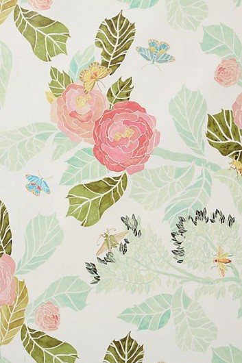 Floral wallpaper from Anthropologie that is similar to the Japanese Peonies Allover Stencl from Cutting Edge Stencils. http://www.cuttingedgestencils.com/japanese-peonies-floral-stencil-pattern.html