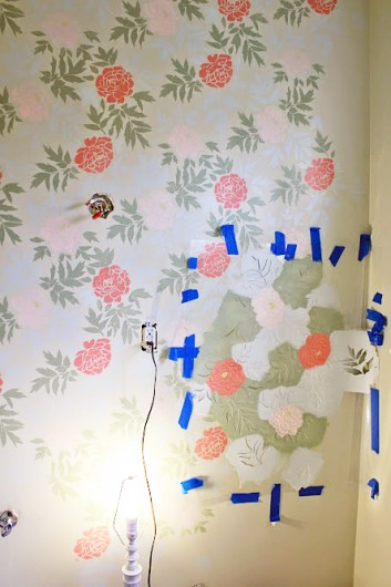 Learn how to stencil a DIY bathroom using the Japanese Peonies Allover Stencil from Cutting Edge Stencils. http://www.cuttingedgestencils.com/japanese-peonies-floral-stencil-pattern.html