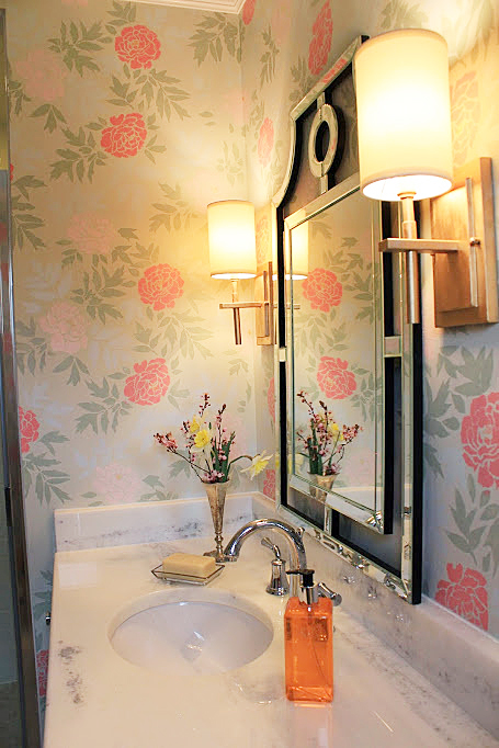 A DIY stenciled bathroom using the Japanese Peonies Allover Stencil from Cutting Edge Stencils. http://www.cuttingedgestencils.com/japanese-peonies-floral-stencil-pattern.html