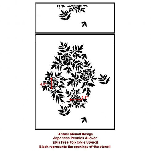The Japanese Peonies Allover Stencil from Cutting Edge Stencils. http://www.cuttingedgestencils.com/japanese-peonies-floral-stencil-pattern.html