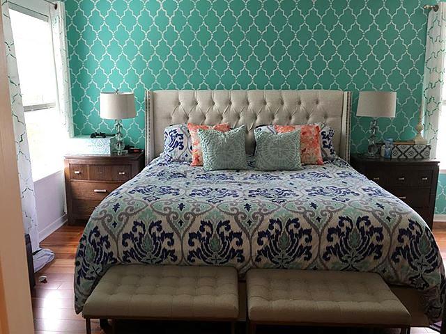 A DIY stenciled bedroom accent wall using the Marrakech Trellis Stencil from Cutting Edge Stencils. http://www.cuttingedgestencils.com/moroccan-stencil-marrakech.html