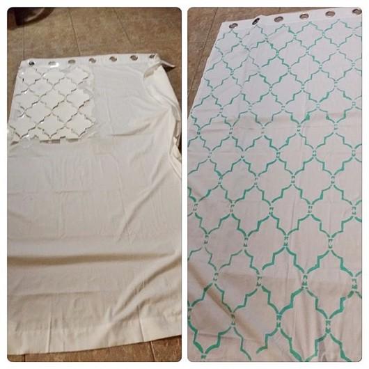 DIY stenciled curtain panels using the Marrakech Trellis Allover Stencil from Cutting Edge Stencils. http://www.cuttingedgestencils.com/moroccan-stencil-marrakech.html