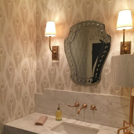 A DIY stenciled bathroom using the Peacock Feather Allover Stencil from Cutting Edge Stencils for a wallpaper look. http://www.cuttingedgestencils.com/peacock-feather-wall-stencil-pattern.html