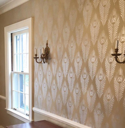 A DIY stenciled wall using the Peacock Feather Allover Stencil from Cutting Edge Stencils. http://www.cuttingedgestencils.com/peacock-feather-wall-stencil-pattern.html