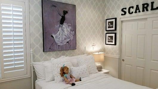 A DIY stenciled girls bedroom using the Rabat Allover Stencil from Cutting Edge Stencils. http://www.cuttingedgestencils.com/moroccan-stencil-pattern-3.html