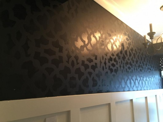 A DIY stenciled black and white pantry accent wall using the Zamira Allover Stencil from Cutting Edge Stencils. http://www.cuttingedgestencils.com/moroccan-stencil-designs.html