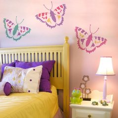 The Vanessa Butterfly stencils from Cutting Edge Stencils. http://www.cuttingedgestencils.com/vanessa-butterfly-stencil-butterfly-wall-art-design.html