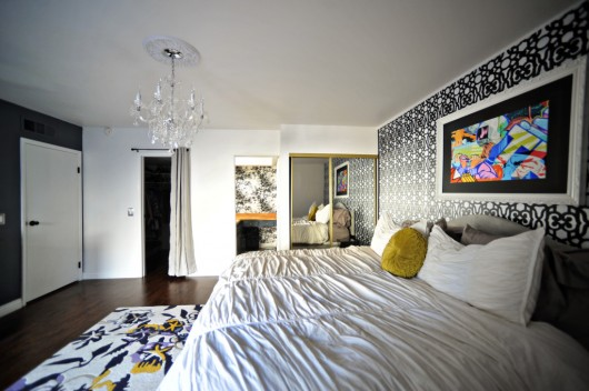 A DIY stenciled bedroom accent wall using the Covington Allover Stencil from Cutting Edge Stencils. http://www.cuttingedgestencils.com/stencil-stencils-covington.html