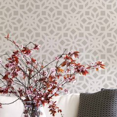 The Kerala Allover wall stencil from Cutting Edge Stencils is an Indian inspired wall pattern. http://www.cuttingedgestencils.com/kerala-indian-stencil-geometric-pattern-stencils.html