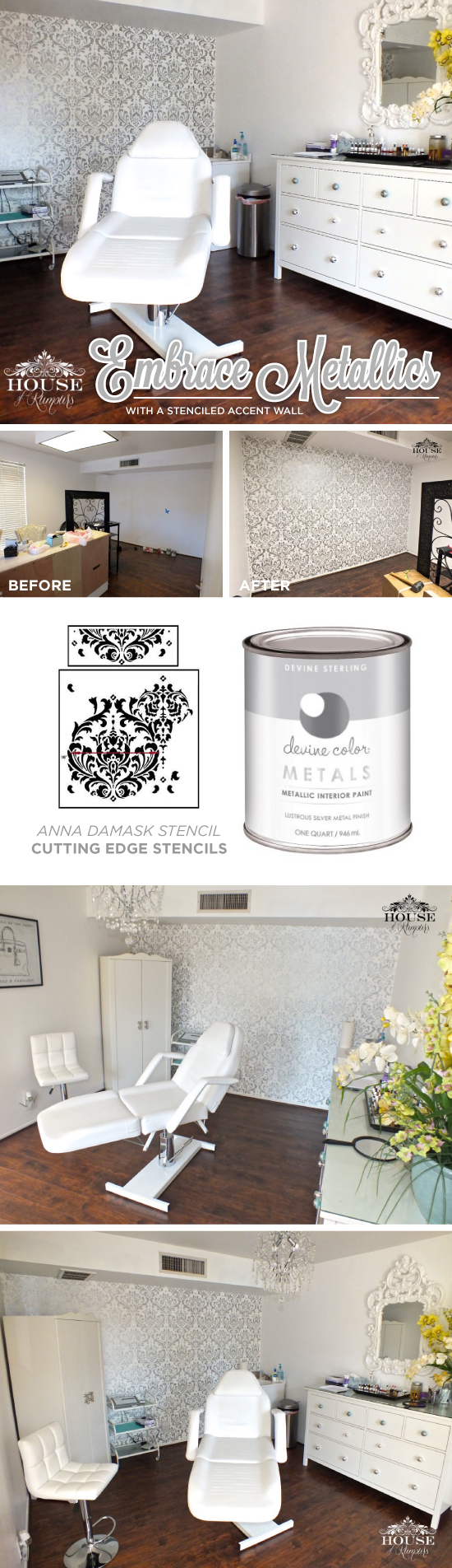 Cutting Edge Stencils shares a DIY stenciled accent wall in a salon using the Anna Damask Stencil in metallic silver and white. http://www.cuttingedgestencils.com/damask-stencil.html