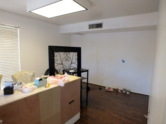 A before shot of a salon. http://www.cuttingedgestencils.com/damask-stencil.html