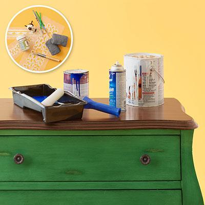 A DIY dresser before its stenciled makeover. http://www.cuttingedgestencils.com/indian-inlay-stencil-furniture.html