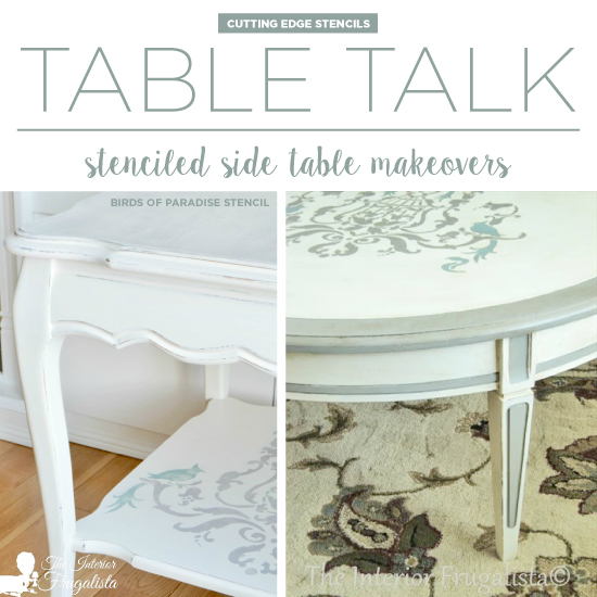 Cutting Edge Stencils shares painted and stenciled table makeovers using the Birds of Paradise Stencil. http://www.cuttingedgestencils.com/birds-pattern-stencil.html