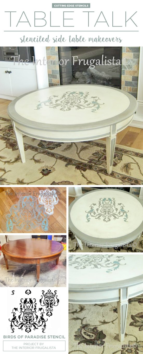 A DIY painted and stenciled coffee table makeover using the Birds of Paradise Stencil. http://www.cuttingedgestencils.com/birds-pattern-stencil.html