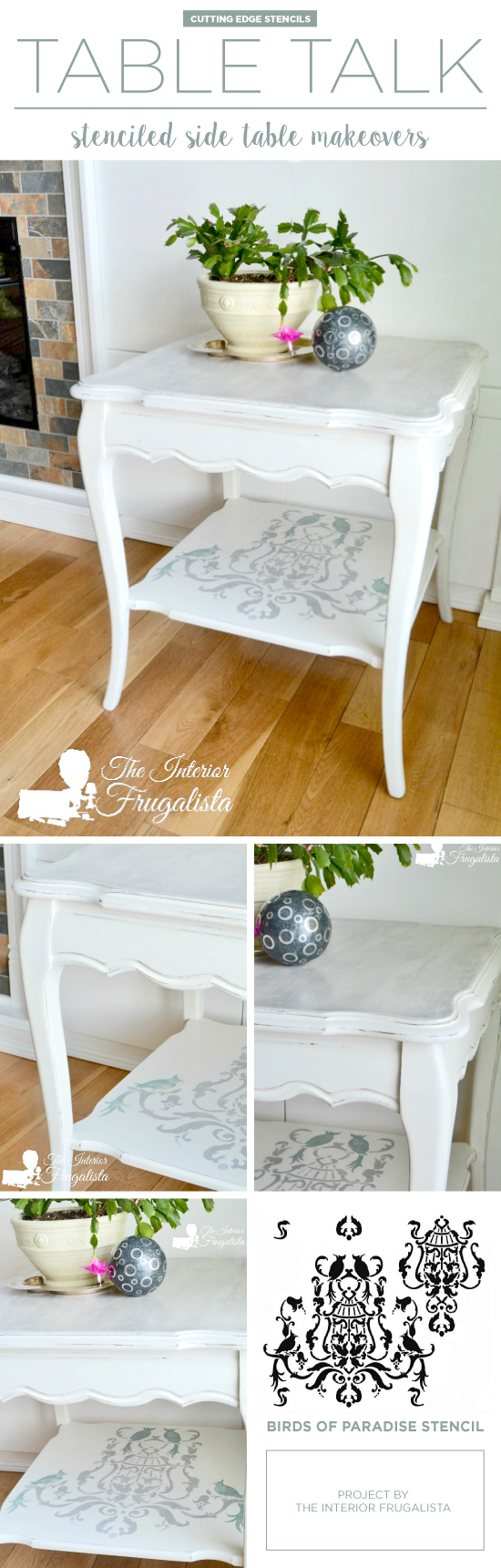 A DIY painted and stenciled side table makeover using the Birds of Paradise Stencil. http://www.cuttingedgestencils.com/birds-pattern-stencil.html