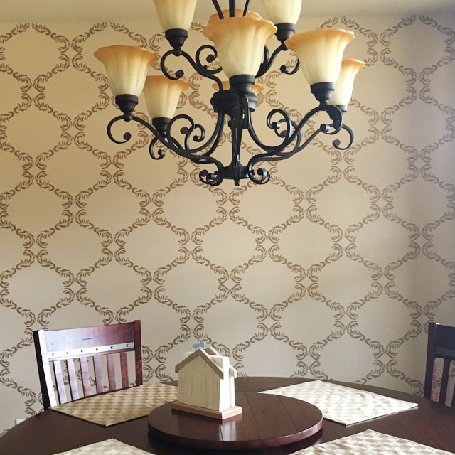 A DIY stenciled accent wall using the Chelsea Allover Stencil from Cutting Edge Stencils. http://www.cuttingedgestencils.com/chelsea-allover-wall-pattern.html