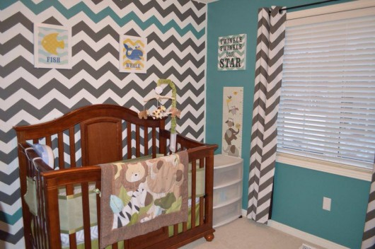 A DIY stenciled nursery accent wall using the Chevron Allover Stencil from Cutting Edge Stencils. http://www.cuttingedgestencils.com/chevron-stencil-pattern.html