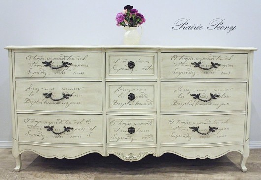 A DIY stenciled dresser using the French Poem Craft Stencil from Cutting Edge Stencils. http://www.cuttingedgestencils.com/french-poem-diy-craft-stencil-design.html