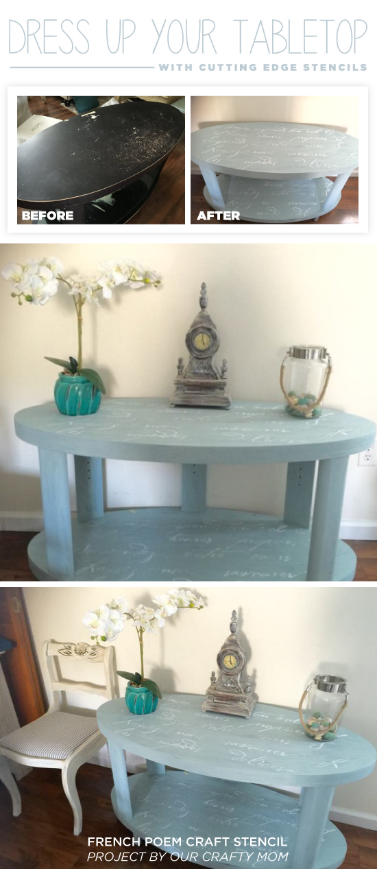 A DIY stenciled table using the French Poem Craft Stencil from Cutting Edge Stencils. http://www.cuttingedgestencils.com/french-poem-diy-craft-stencil-design.html