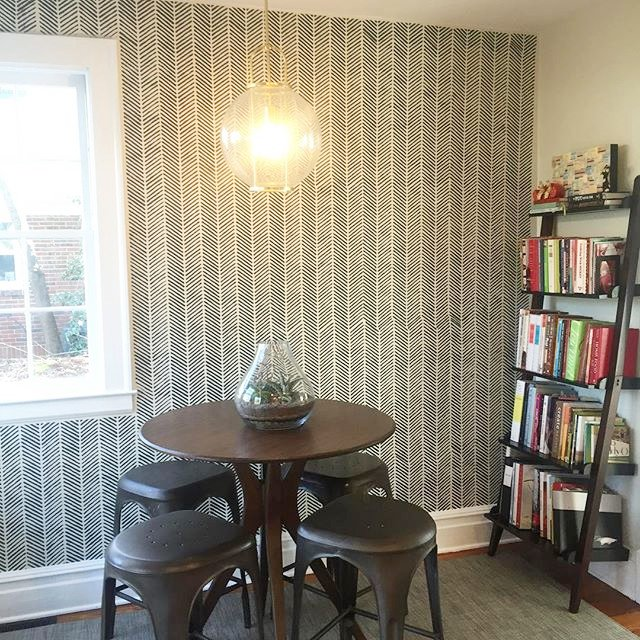 A DIY stenciled accent wall using the Herringbone Stitch Allover Stencil from Cutting Edge Stencils. http://www.cuttingedgestencils.com/herringbone-stitch-allover-pattern-wall-stencil.html