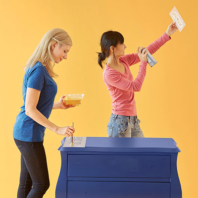Learn how to stencil a dresser with the Indian Inlay Stencil kit from Cutting Edge Stencils featured in This Old House Magazine on the DIY Dare Challenge. http://www.cuttingedgestencils.com/indian-inlay-stencil-furniture.html