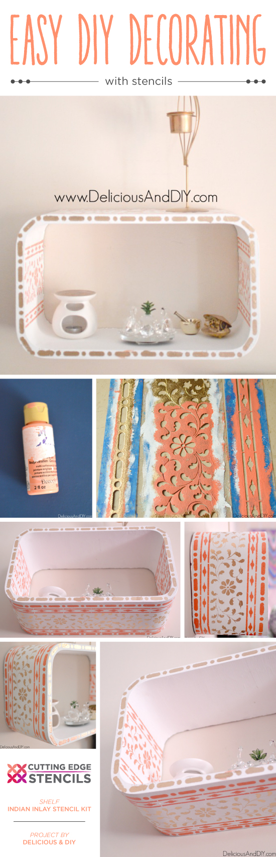 A DIY stenciled floating shelf using the Indian Inlay Stencil kit from Cutting Edge Stencils. http://www.cuttingedgestencils.com/indian-inlay-stencil-furniture.html