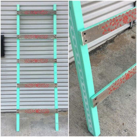 A DIY stenciled decorative ladder using the Indian Inlay Stencil Kit from Cutting Edge Stencils. http://www.cuttingedgestencils.com/indian-inlay-stencil-furniture.html