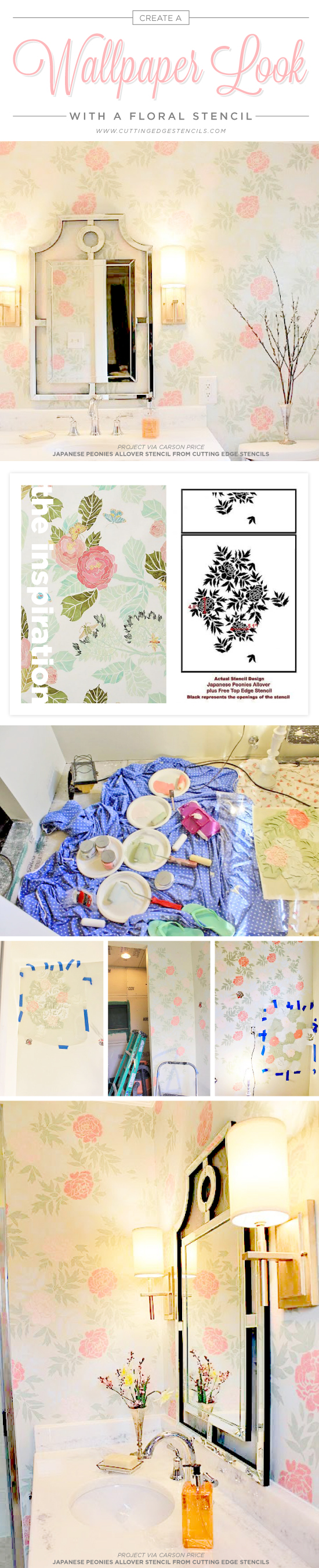 Cutting Edge Stencils shares a DIY stenciled bathroom using the Japanese Peonies Allover Stencil for a wallpaper look. http://www.cuttingedgestencils.com/japanese-peonies-floral-stencil-pattern.html