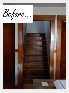 A before shot of a stairway. http://www.cuttingedgestencils.com/little-diamonds-pattern-stencil-for-walls.html
