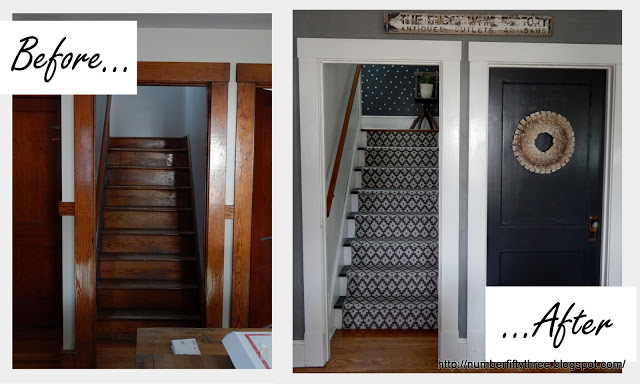A before and after of a DIY stenciled stairway using the Little Diamonds Allover Stencil from Cutting Edge Stencils. http://www.cuttingedgestencils.com/little-diamonds-pattern-stencil-for-walls.html