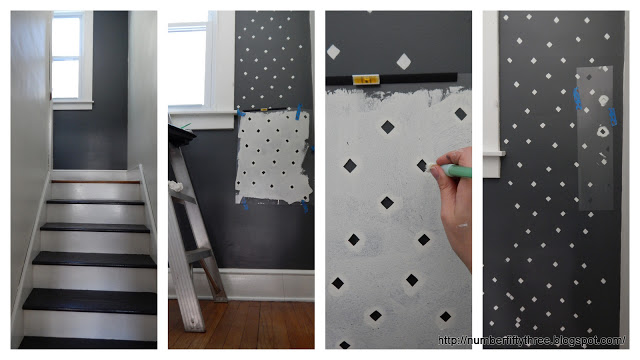 A stencil tutorial on how to stencil a stairway hallway using the Little Diamonds Allover Stencil from Cutting Edge Stencils. http://www.cuttingedgestencils.com/little-diamonds-pattern-stencil-for-walls.html
