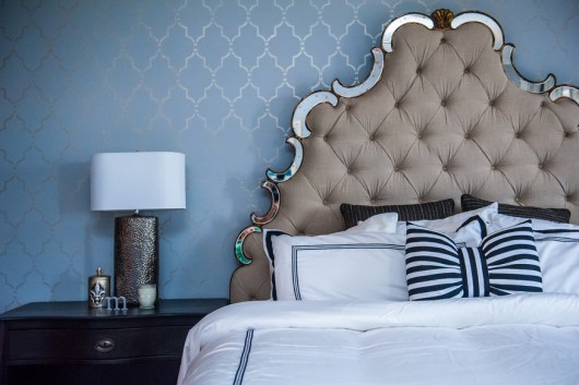 A DIY stenciled blue bedroom accent wall using the Marrakech Trellis Stencil from Cutting Edge Stencils. marrakech-trellis-stencil-diy-stenciled-blue-bedroom