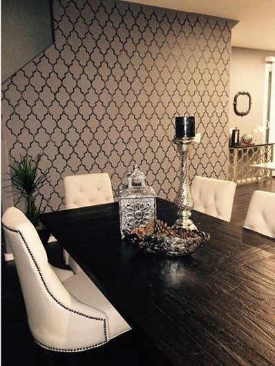 A DIY stenciled dining room accent wall using the Marrakech Trellis Stencil from Cutting Edge Stencils. http://www.cuttingedgestencils.com/moroccan-stencil-marrakech.html