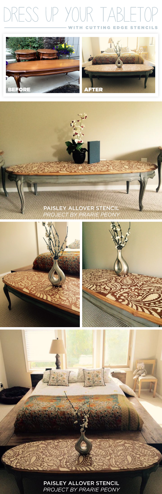 A DIY stenciled table using the Paisley Allover Stencil from Cutting Edge Stencils. http://www.cuttingedgestencils.com/paisley-allover-stencil.html