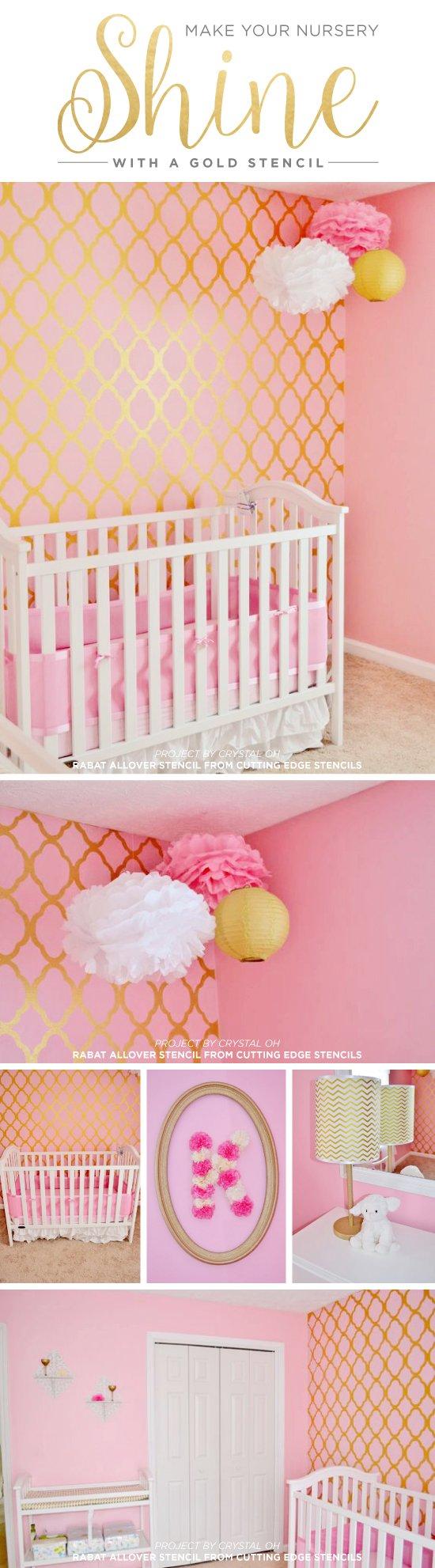 A DIY stenciled pink and gold nursery using the Rabat Allover Stencil from Cutting Edge Stencils. http://www.cuttingedgestencils.com/moroccan-stencil-pattern-3.html