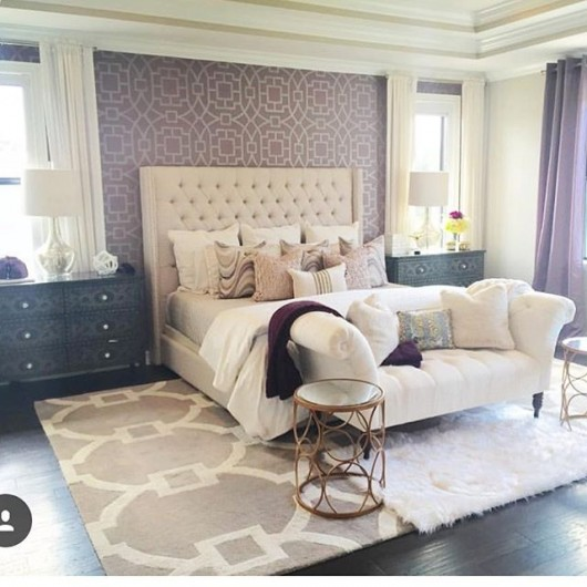 A DIY stenciled accent wall in a bedroom using the Tea House Trellis Stencil from Cutting Edge Stencils. http://www.cuttingedgestencils.com/tea-house-trellis-allover-stencil-pattern.html