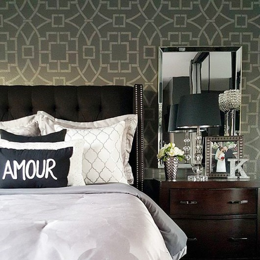 A DIY stenciled bedroom accent wall using the Tea House Trellis Allover Stencil from Cutting Edge Stencils. http://www.cuttingedgestencils.com/tea-house-trellis-allover-stencil-pattern.html