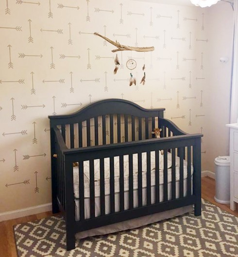 A DIY stenciled nursery accent wall using the Tribal Arrows Allover Stencil from Cutting Edge Stencils. http://www.cuttingedgestencils.com/tribal-arrow-pattern-stencils-wall-decor.html