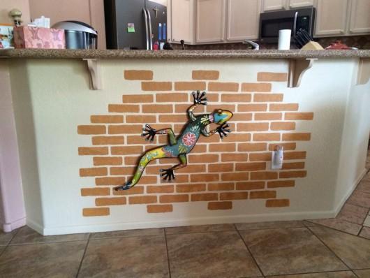 A DIY stenciled kitchen island using the Brick Allover Stencil from Cutting Edge Stencils. http://www.cuttingedgestencils.com/bricks-stencil-allover-pattern-stencils.html