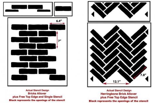 Brick Allover and Herringbone Brick Allover Stencil from Cutting Edge Stencils. http://bit.ly/BrickStencils