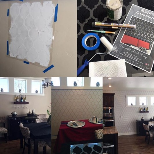 A DIY stenciled dining room using the Casablanca Allover Stencil from Cutting Edge Stencils. http://www.cuttingedgestencils.com/allover-stencils.html