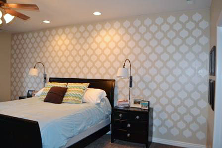 A DIY stenciled master bedroom accent wall using the Cascade Allover Stencil from Cutting Edge Stencils. http://www.cuttingedgestencils.com/cascade-allover-stencil-pattern.html
