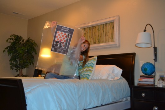 A DIY stenciled bedroom makeover using the Cascade Allover Stencil from Cutting Edge Stencils. http://www.cuttingedgestencils.com/cascade-allover-stencil-pattern.html