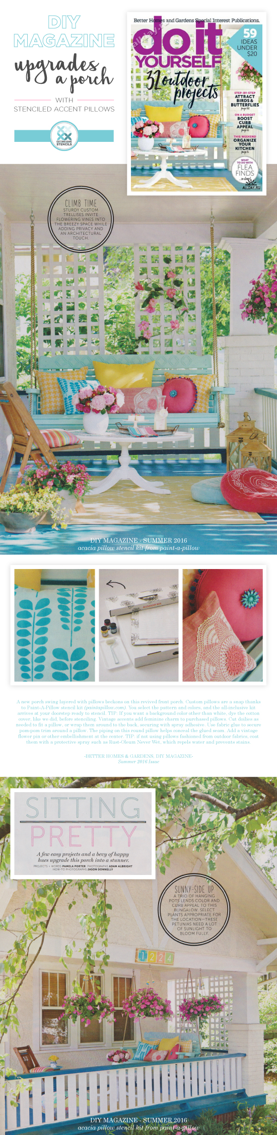 Cutting Edge Stencils is featured on the cover of the Summer 2016 issue of Do It Yourself Magazine from BHG. http://www.cuttingedgestencils.com/acacia-stencil-paint-a-pillow-kit.html
