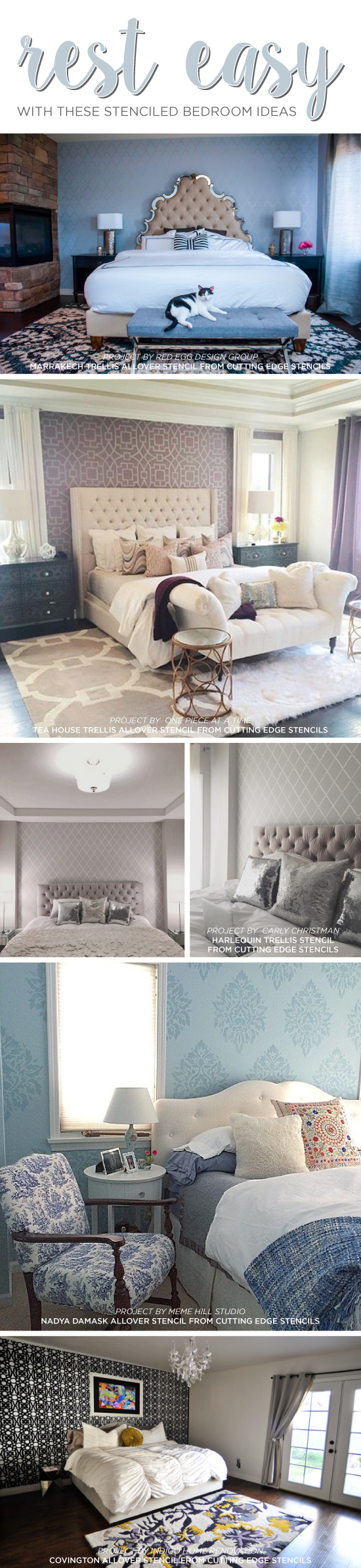 Rest Easy With These Stenciled Bedroom Ideas Model Home Bedroom Design Html on small house bedroom design, brick wall bedroom design, nursing home bedroom design, living room bedroom design, townhouse bedroom design, hotel bedroom design, interior design, hunting lodge bedroom design, luxury bedroom design, custom bedroom design, condominium bedroom design, mobile home bedroom design, office bedroom design,